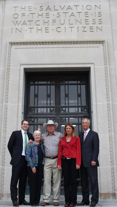 Landowner clients and Lawyers Brian Jorde and Dave Domina outside Nebraska State Capital following Oral Argument (From left: Brian Jorde, Susan Dunavan, Randy Thompson, Suz Straka, and Dave Domina)